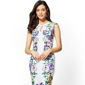 1561189102 New York   Company Dresses - New York   Company White Floral Sheath Dress  ...